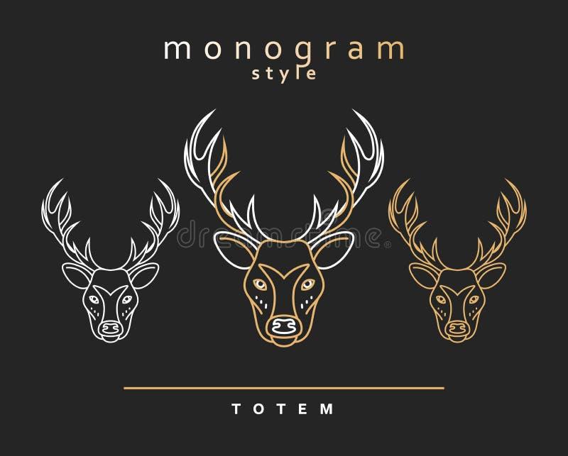 Monogram deer. Totem deers. Elk Horn. Set of monogrammed elk. stock illustration