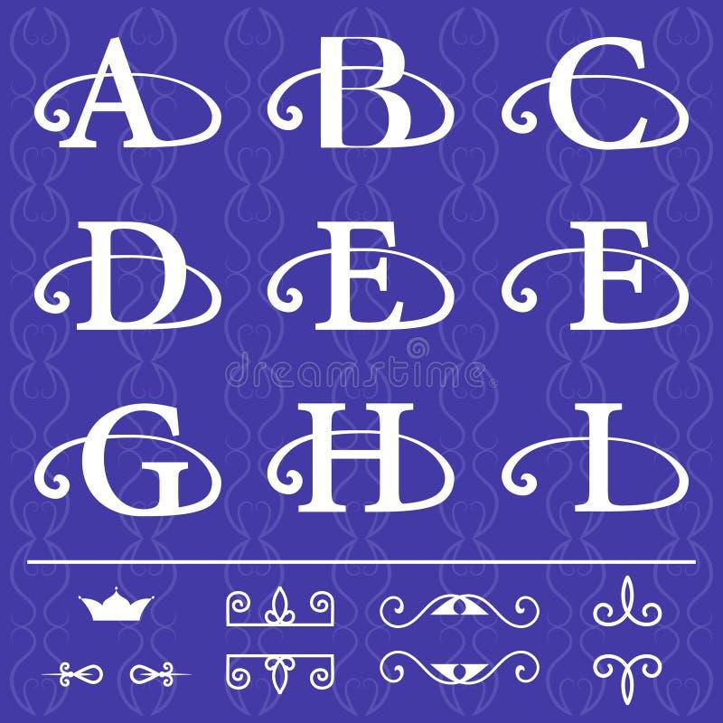 Antique Monogram Letter C Template on