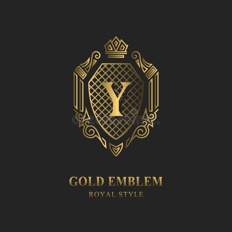 Royal monogram design. Luxury volumetric logo template. 3d line ornament. Emblem with letter Y for Business sign, badge, crest, la. Bel, Boutique brand, Hotel vector illustration