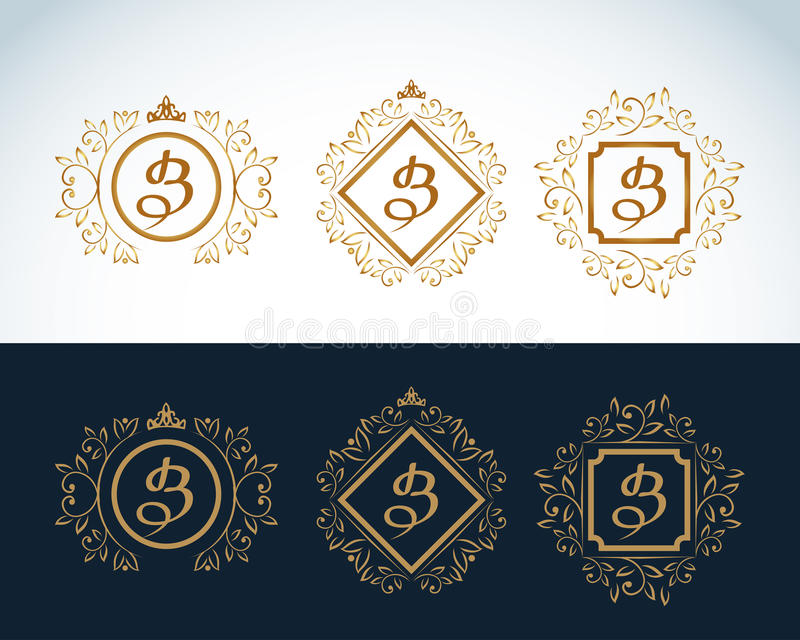Monogram design elements, graceful template. Calligraphic elegant line art logo design. Letter emblem B. Vector format. stock illustration