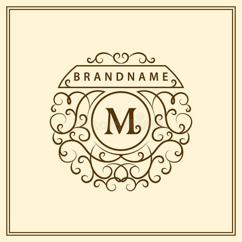 Monogram design elements, graceful template. Calligraphic elegant line art logo design. Letter emblem M for Royalty, business card stock illustration