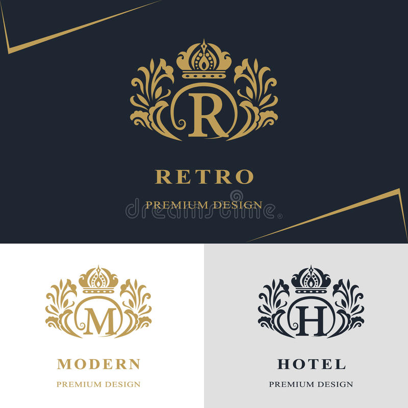 Monogram design elements, graceful template. Calligraphic elegant line art logo design. Letter emblem sign R, M, H for Royalty stock illustration