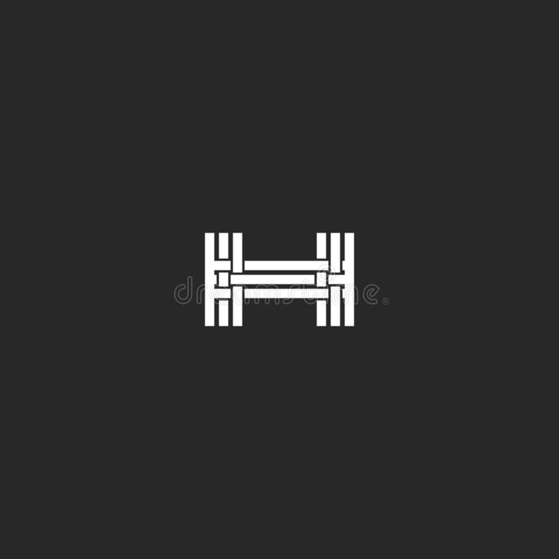 Monogram letter H logo, interlacing thin line design element, mockup wedding invitation or business card emblem, hotel symbol vector illustration