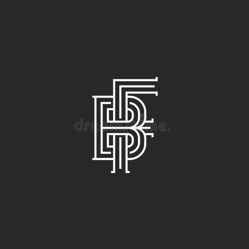 Free Monogram Letters BF Or FB Initials Logo Mockup, Overlapping Two Marks B And F Combination, Linear Old Style Emblem Design Royalty Free Stock Photos - 144074478