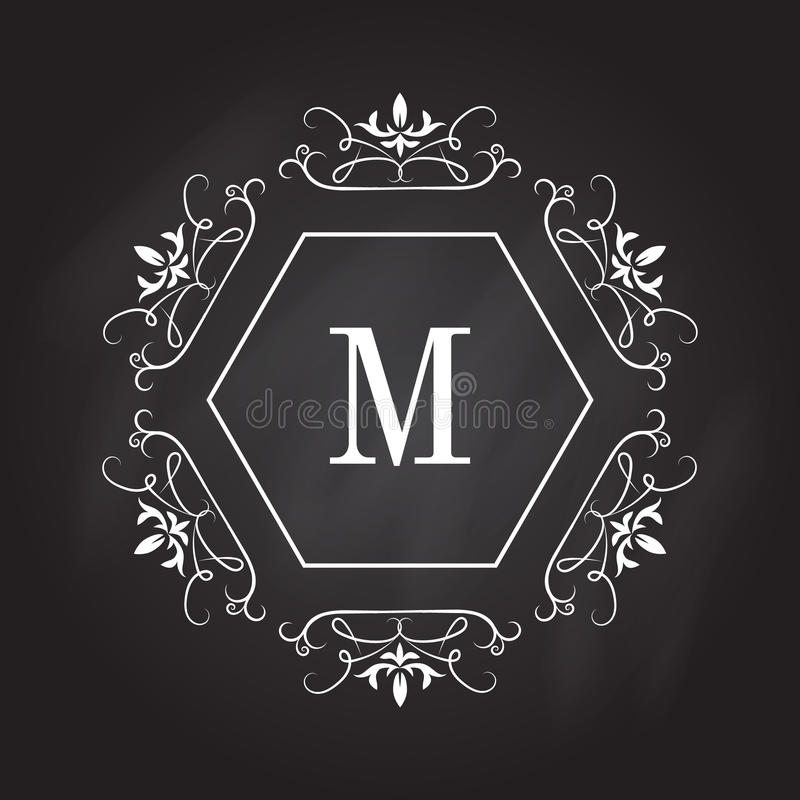 Monogram logo template. Identity design for shop, restaurant, beauty salon, boutique or hotel stock illustration
