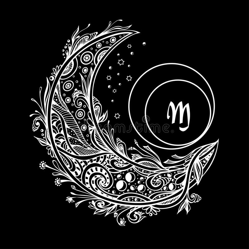 Monogram med den dekorativa månen eller växande vit på svart stock illustrationer
