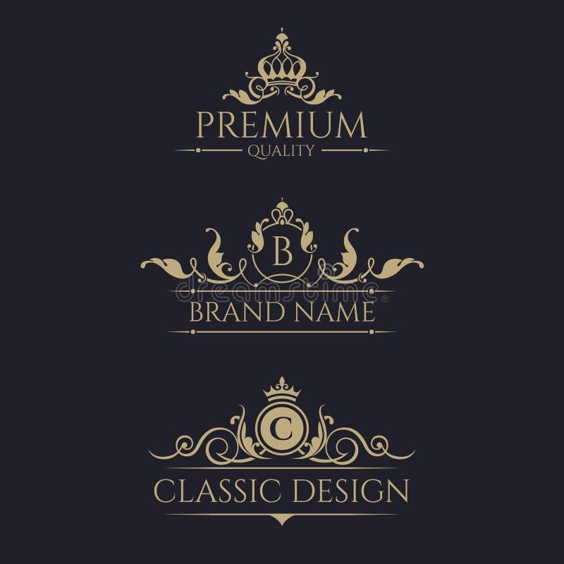 Monogram med kronan Högvärdig gränsuppsättning royaltyfri illustrationer