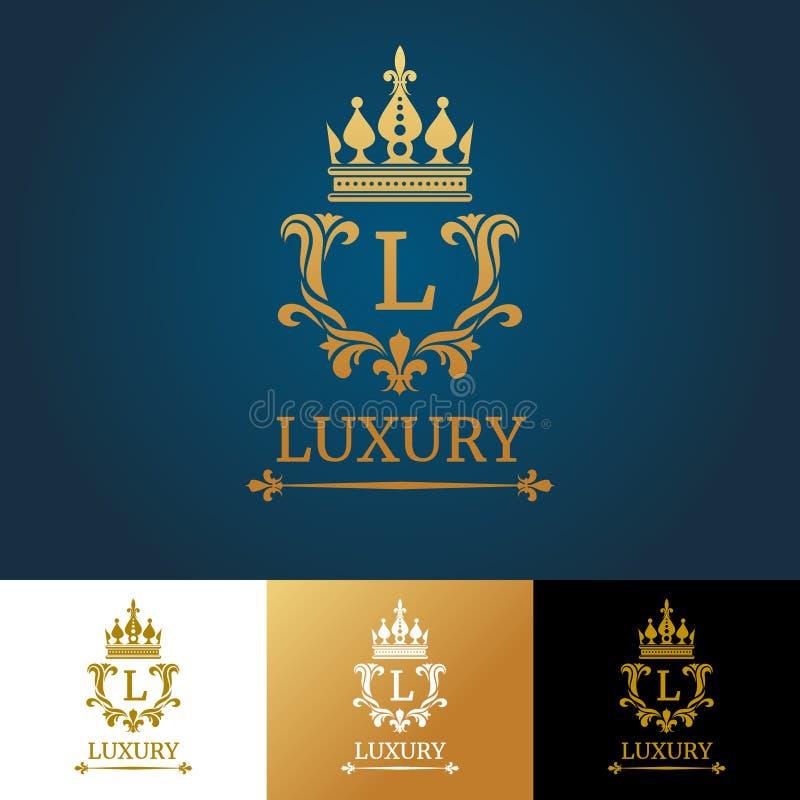 Monogram med kronan Kunglig mall för designvektorlogo royaltyfri illustrationer