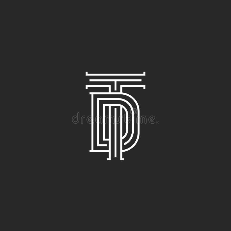 Monogram TD eller avskiljare-initialer av logoen, en kombination av två korsade bokstäver T och D som gifta sig linjär konst för  royaltyfri illustrationer