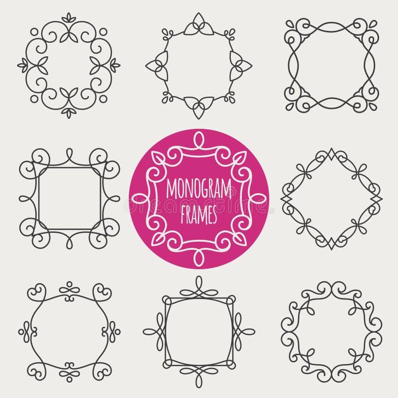 Monogram uitstekende kaders royalty-vrije illustratie
