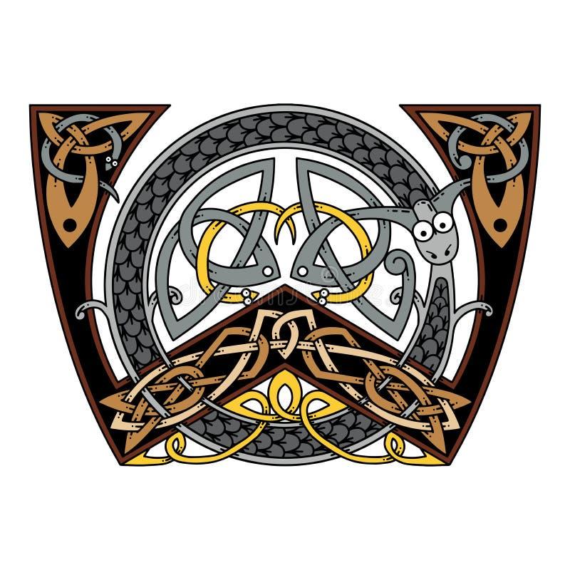 Monogram w Celtyckim stylu z smokiem ilustracji