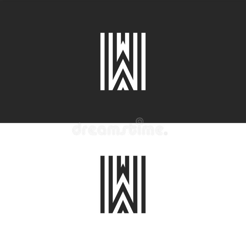 Free Monogram W Letter Linear Logo Mockup, Black And White Parallel Lines Stylish Minimalist Typography Design Emblem For Business Card Stock Image - 174170571