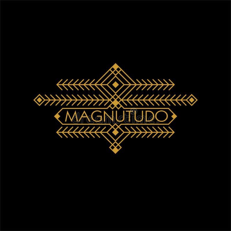Monograma étnico de lujo de Art Deco Monochrome Gold Flourishes del vintage Emblema ornamental Logotipo de la plantilla Estilo de libre illustration