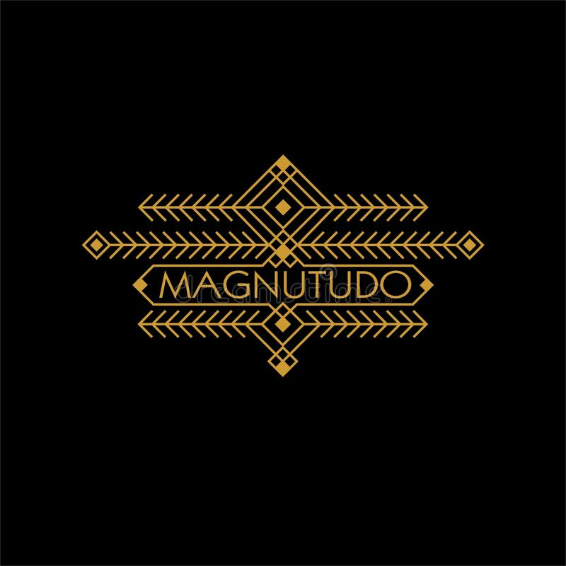 Monograma étnico luxuoso de Art Deco Monochrome Gold Flourishes do vintage Emblema decorativo Logotipo do molde Estilo do moderno ilustração royalty free