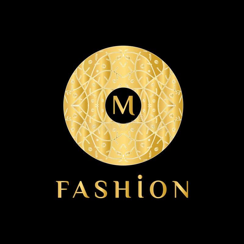 Monograma abstracto linear elegante, plantilla del vector Logotipo de lujo para el boutique o el restaurante stock de ilustración