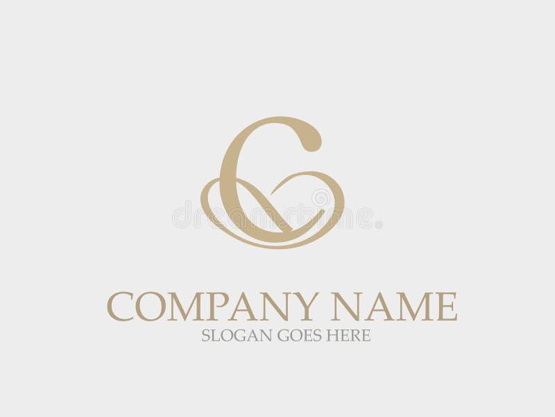 Monograma abstrato Logo Design elegante da letra de C ilustração royalty free