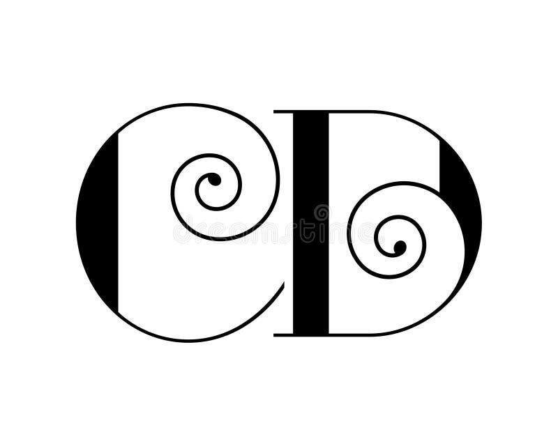 Monograma CD, CD elegante de la letra del alfabeto, DC Logotipo de C y de D ilustración del vector