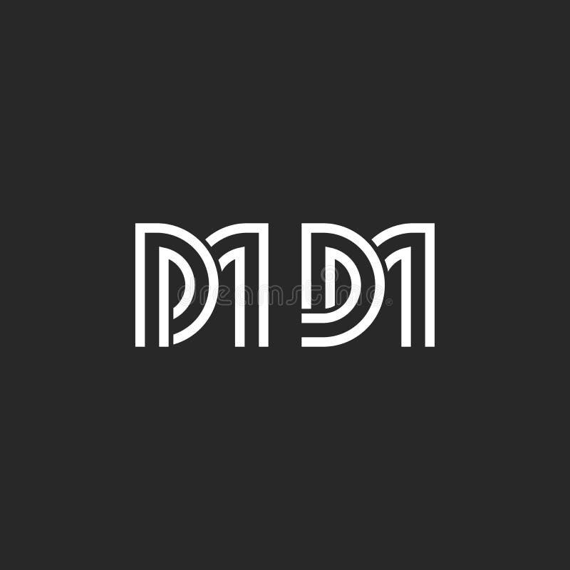 Monograma creativo DM o Doctor en Medicina iniciales de las letras del logotipo, tejiendo dos vectores mínimos de la plantilla de ilustración del vector