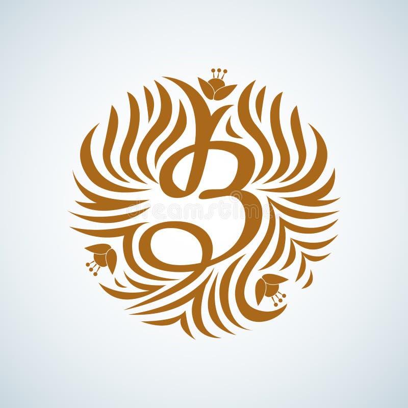 Monograma da letra de B Vintage luxuoso do boutique, logotipo das cristas Sinal do negócio, identidade para o restaurante e direi ilustração stock