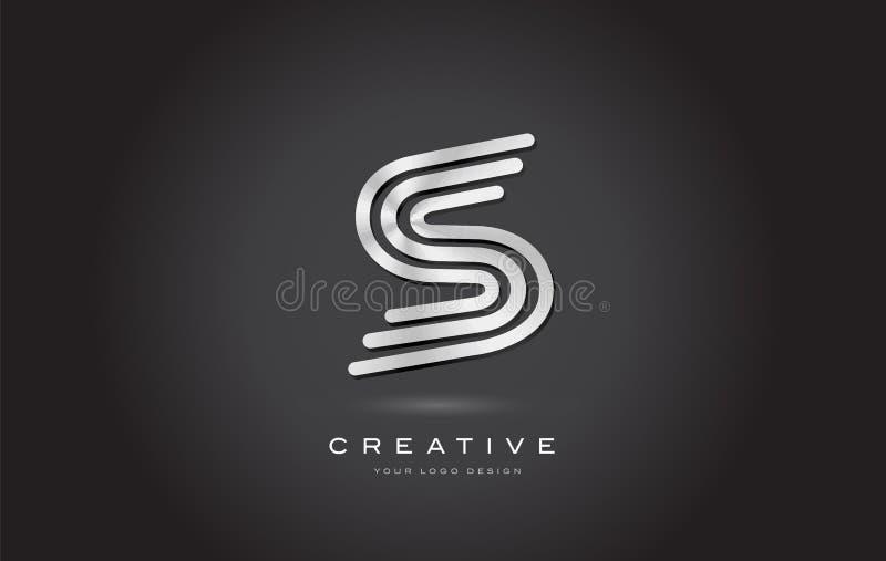 Monograma de acero de plata Logo Design Vector de la letra de S Icono de oro moderno de S con textura hermosa creativa del metal libre illustration