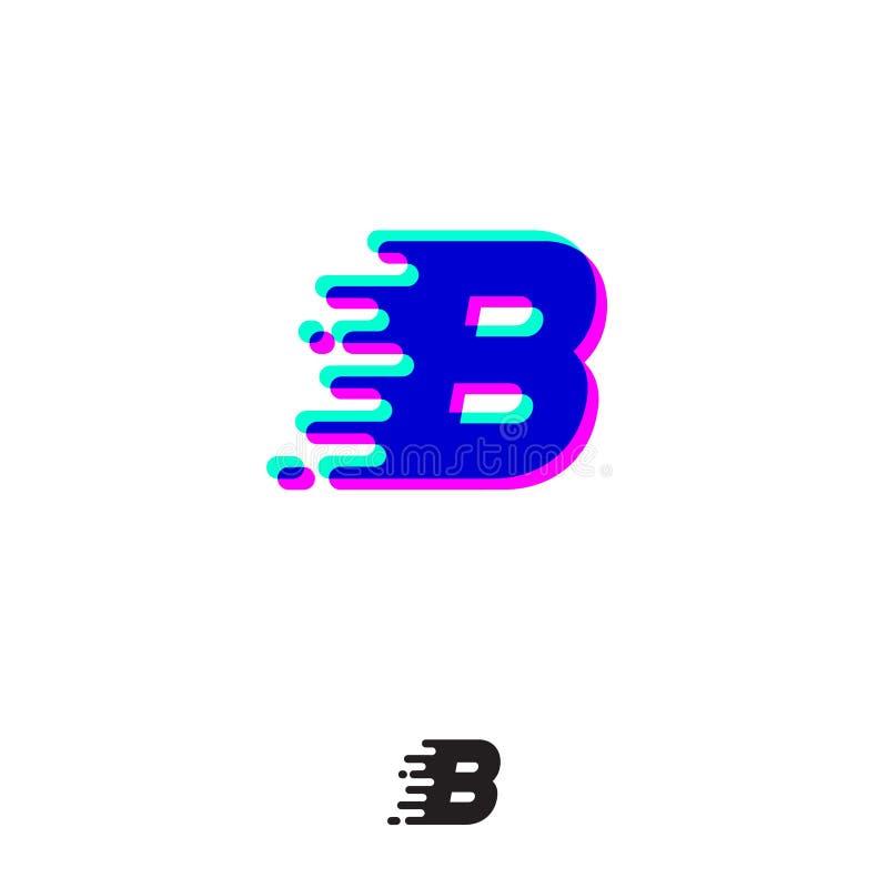 Monograma de B com efeito estereofônico Letra de B com movimento e deslocamento ilustração stock