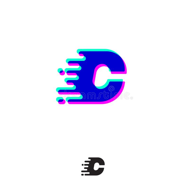 Monograma de C com efeito estereofônico Letra de C com movimento e deslocamento ilustração do vetor
