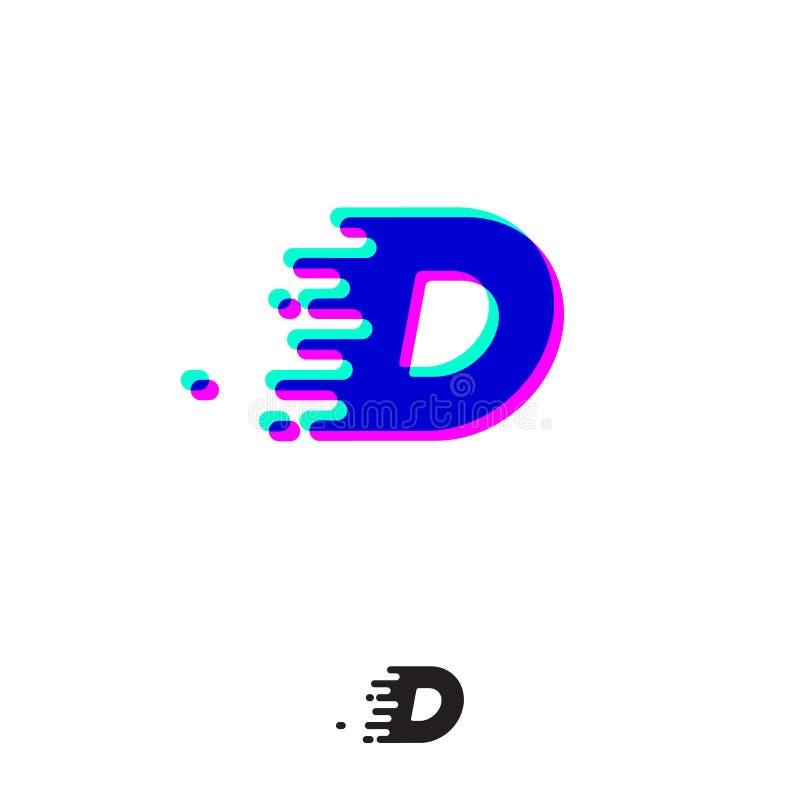 Monograma de D com efeito estereofônico Letra de D com movimento e deslocamento ilustração royalty free