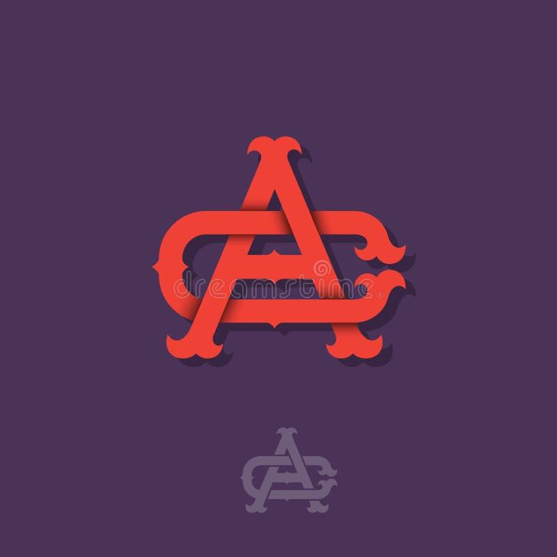 Monograma de A e de C A e letras cruzadas C, iniciais entrelaçadas das letras ilustração stock