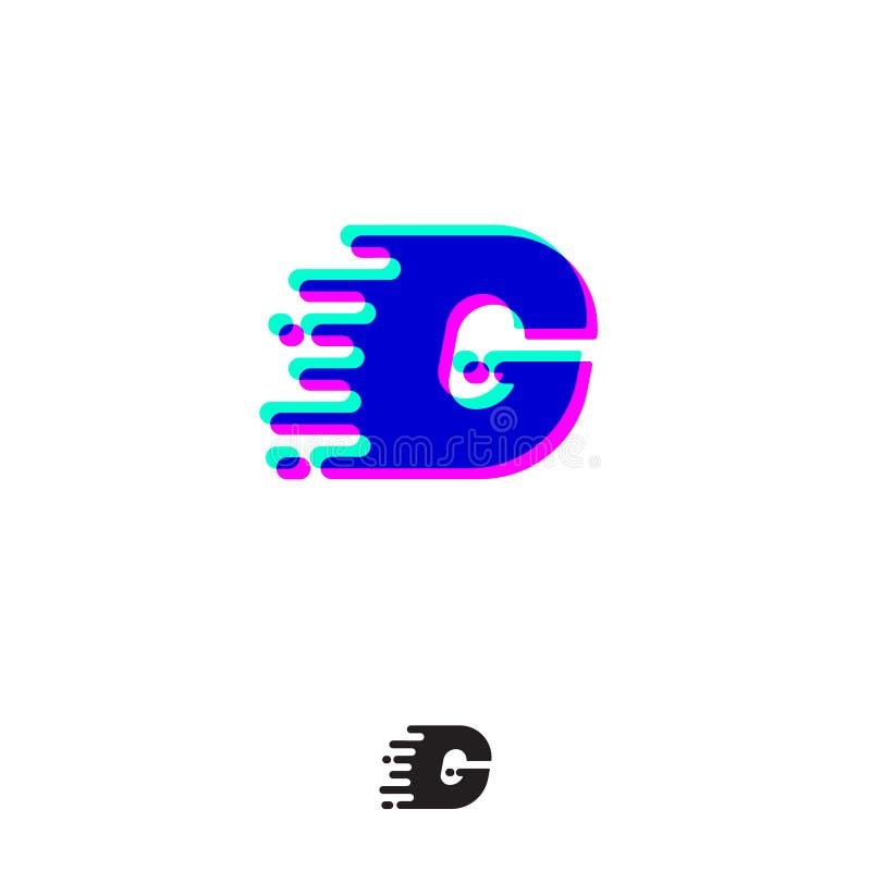 Monograma de G com efeito estereofônico Letra de G com movimento e deslocamento ilustração do vetor