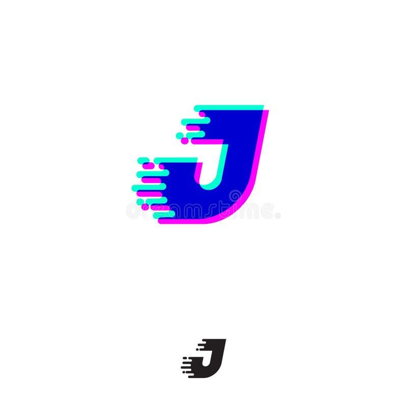 Monograma de J com efeito estereofônico Letra de J com movimento e deslocamento ilustração do vetor