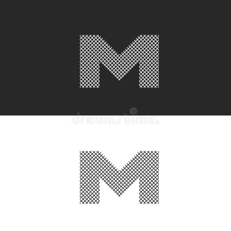 Monograma de la letra M del logotipo, líneas finas entrelazadas blancos y negros, emblema del inconformista para las tarjetas de  ilustración del vector