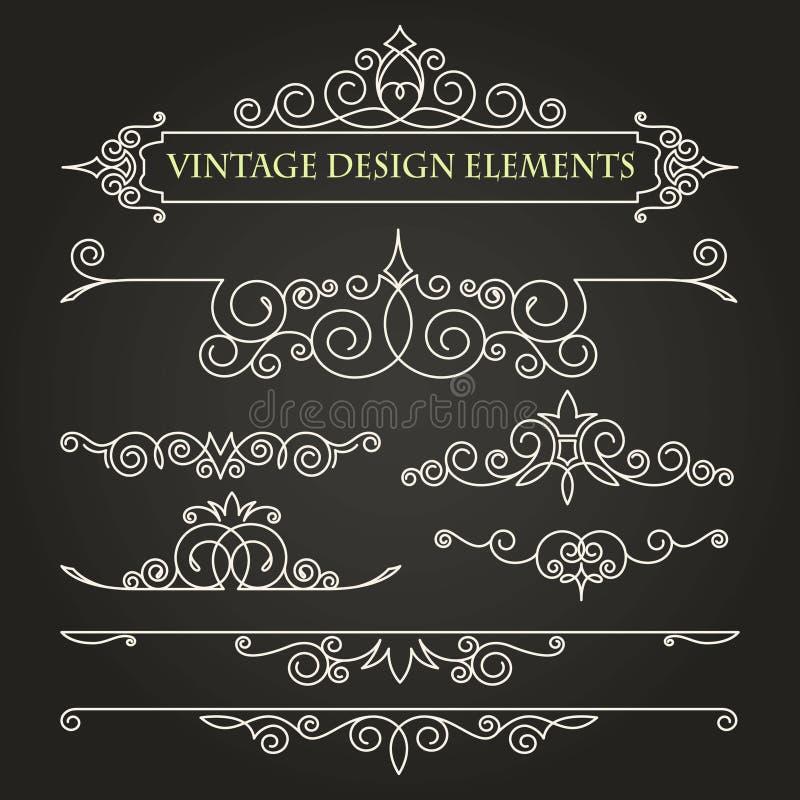 monograma de la plantilla El último ornamento Elementos del vintage de las plantillas en un fondo negro libre illustration