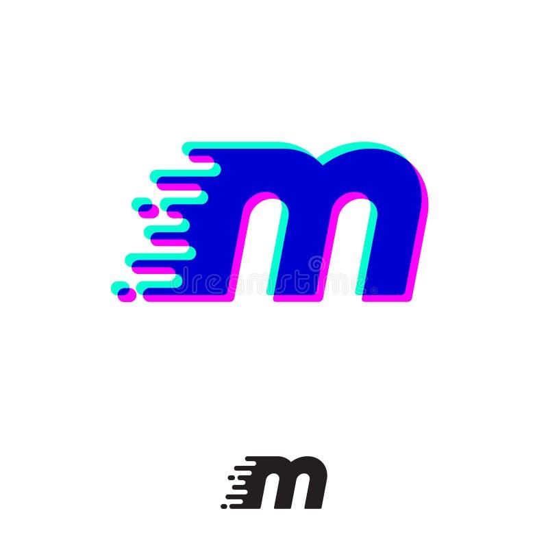 Monograma de M com efeito estereofônico Letra de M com movimento e deslocamento Logotipo din?mico ilustração do vetor