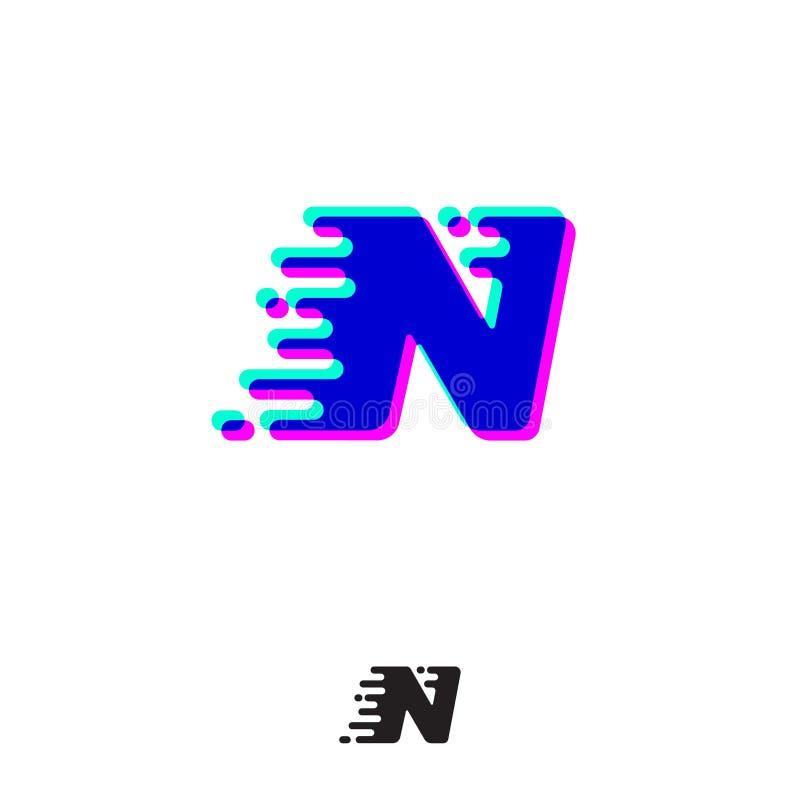 Monograma de N com efeito estereofônico Letra de N com movimento e deslocamento ilustração stock