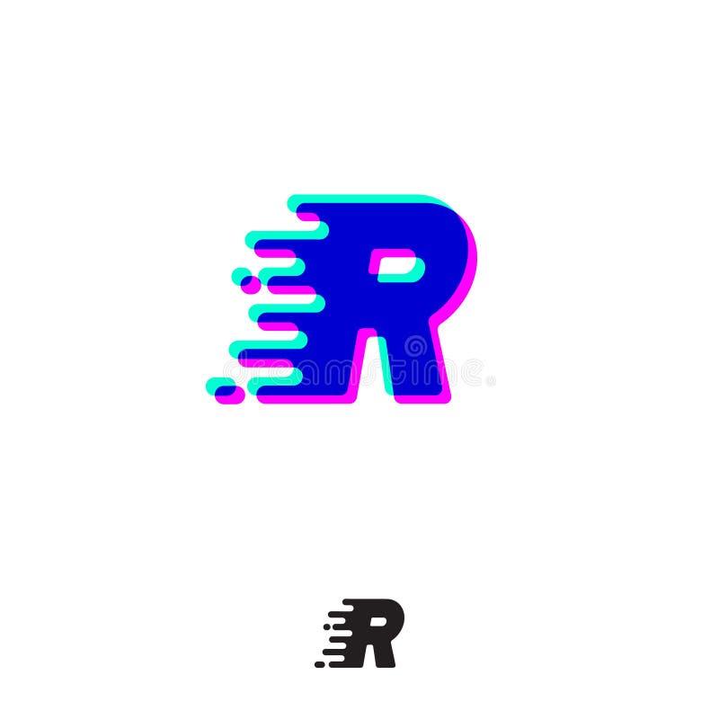 Monograma de R com efeito estereofônico Letra de R com movimento e deslocamento Logotipo din?mico ilustração do vetor