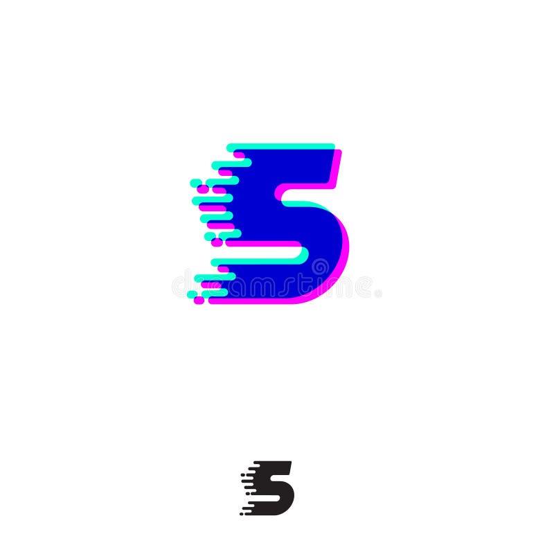 Monograma de S com efeito estereofônico Letra de S com movimento e deslocamento Logotipo din?mico ilustração stock