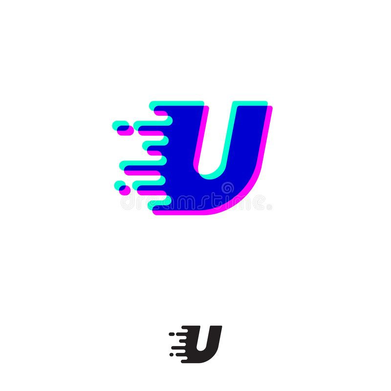 Monograma de U com efeito estereofônico Letra de U com movimento e deslocamento Logotipo din?mico ilustração royalty free