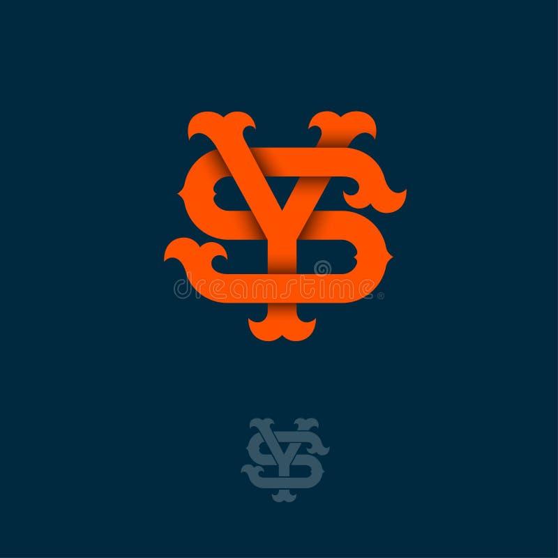 Monograma de Y e de S Y e S alaranjados cruzaram letras no fundo escuro fotos de stock royalty free
