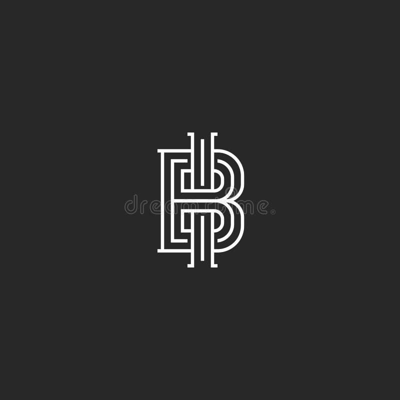 Monograma del logotipo del BI o de IB de la abreviatura de dos letras, negocio o emblema de la invitación de boda, estilo minimal libre illustration