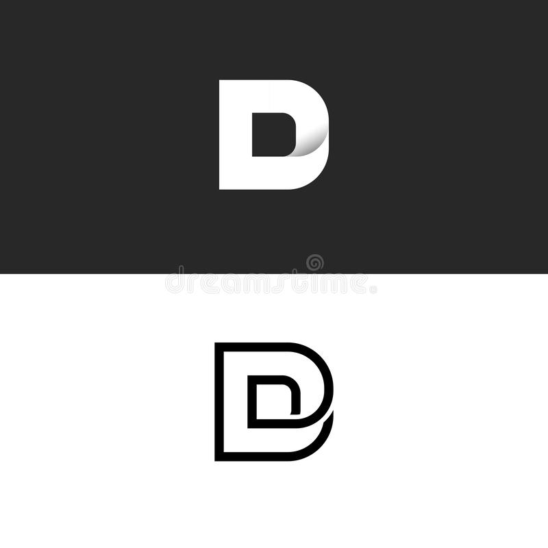 Monograma del logotipo de la letra de D, maqueta del elemento del diseño de la tipografía, combinación linear y logotipo del esti libre illustration