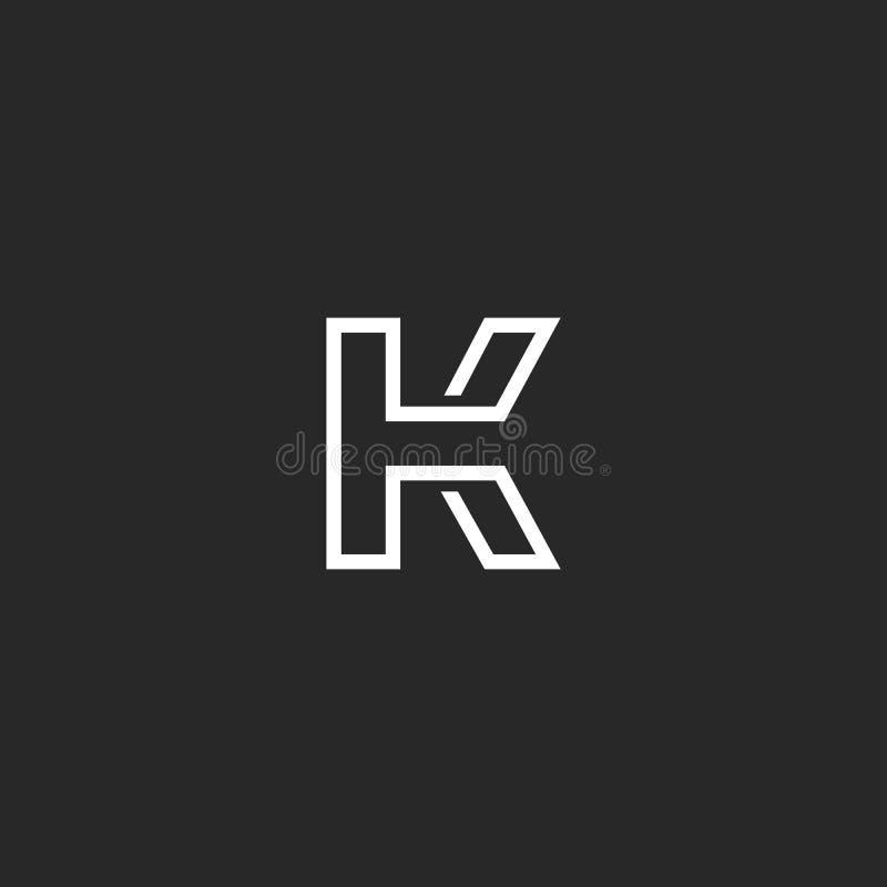 Monograma del logotipo de la letra K, marca mínima del estilo fino del monoline, maqueta linear del emblema del elemento del dise ilustración del vector