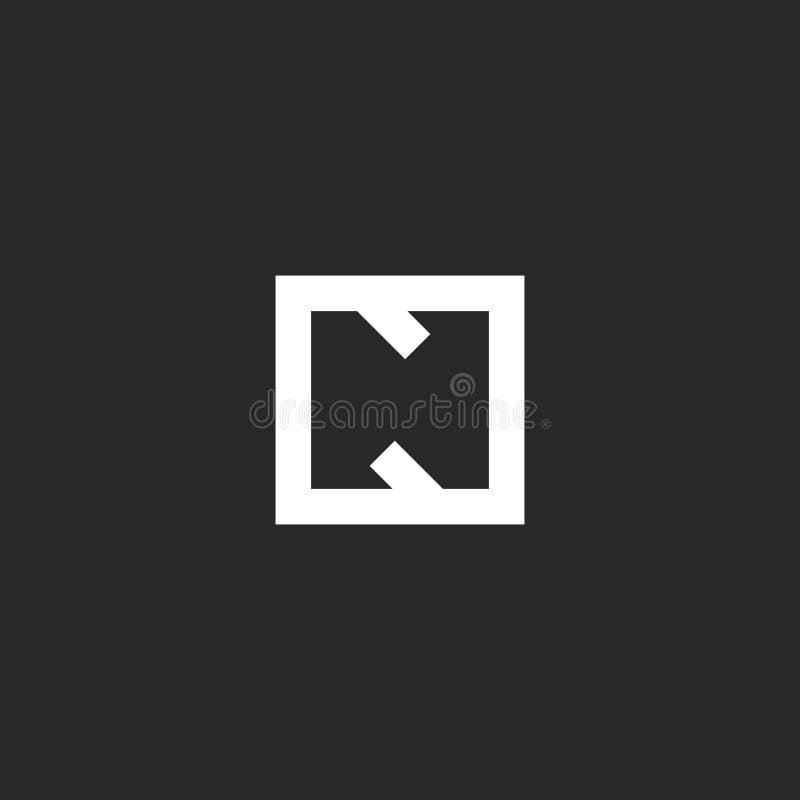 Monograma del logotipo de la letra N, inicial linear en la forma geométrica cuadrada, plantilla blanco y negro del elemento del d libre illustration