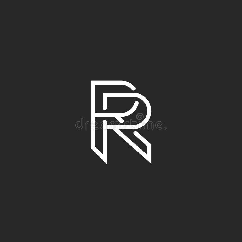 Monograma del logotipo de la letra R, elemento blanco y negro del diseño del inconformista de la maqueta, casandose el emblema de ilustración del vector
