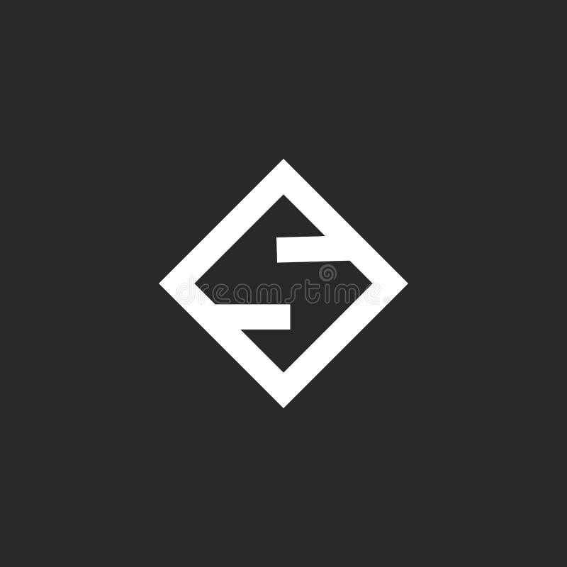 Monograma del logotipo de la letra S, inicial linear simple del estilo mínimo creativo en el emblema negativo del espacio de la f libre illustration