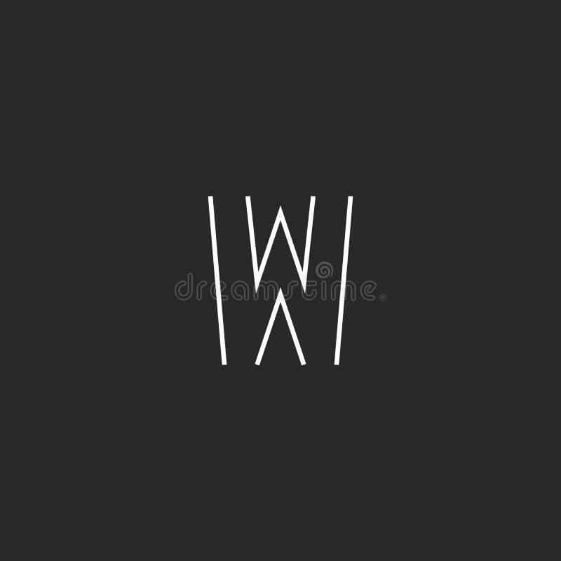 Monograma del logotipo de la letra W de la maqueta, línea fina emblema blanco y negro de la tarjeta de visita, elemento mínimo de libre illustration