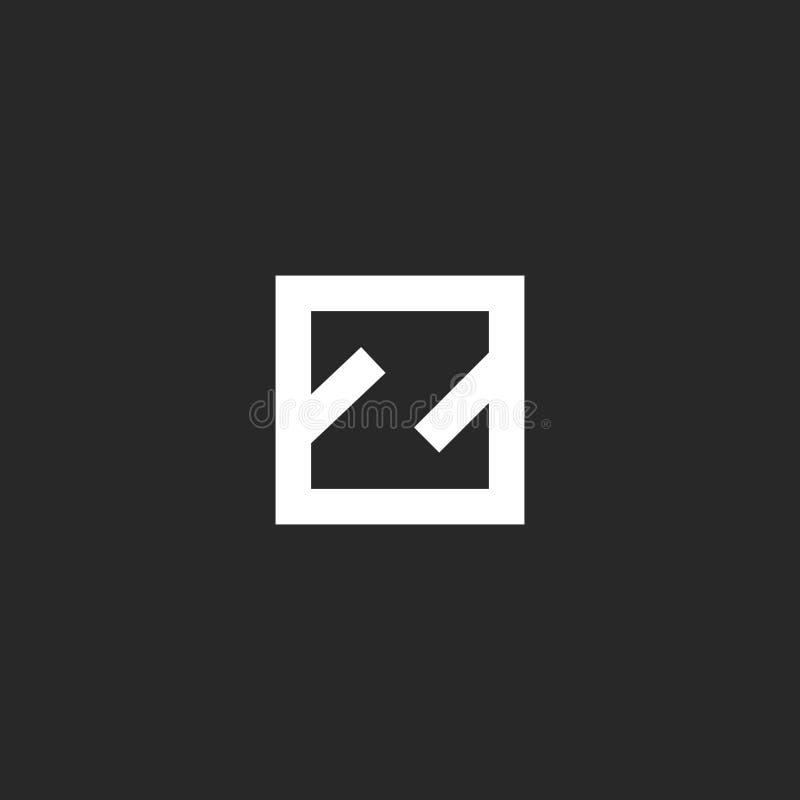 Monograma del logotipo de la letra Z, inicial linear simple del estilo mínimo en el emblema negativo del espacio de la forma geom ilustración del vector
