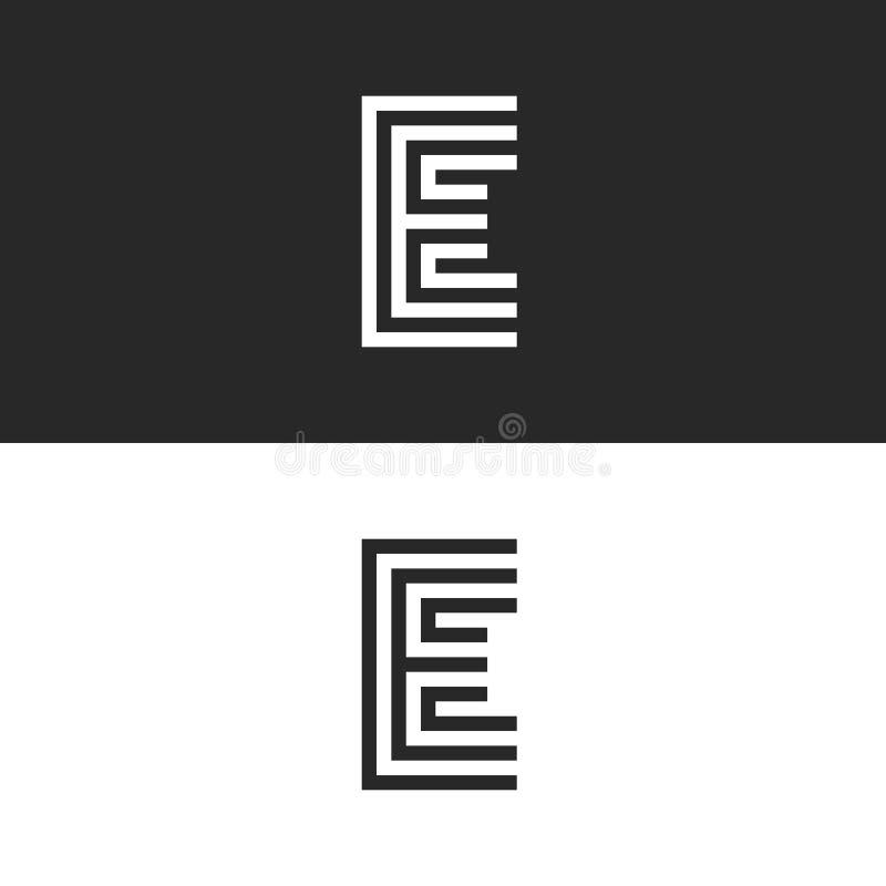 Monograma del logotipo de la mayúscula E, forma simple de la marca de identidad para la tarjeta de visita, elemento linear blanco stock de ilustración