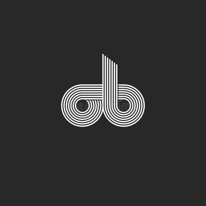 Monograma del logotipo del ob de las letras de la combinación para las líneas finas estilo de la plantilla del emblema de la tarj stock de ilustración