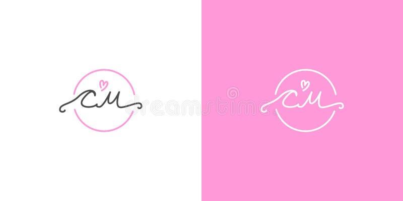 Monograma do casamento C M com um coração cor-de-rosa desenhado à mão ilustração do vetor