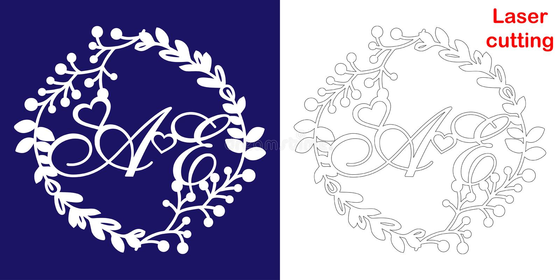Monograma do casamento para o corte do laser Iniciais de um E do logotipo decorativo do casamento em um quadro floral O presente  ilustração royalty free